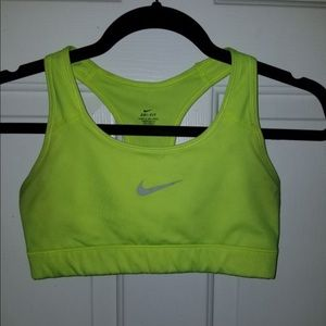 nike womens lime green sports bra S